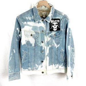 J.Jill Custom Bleached Jean Jacket with Patch